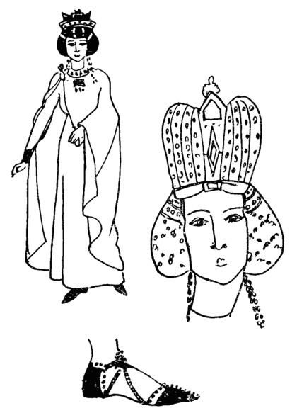 Византийская   туфля,   головной убор и платье.