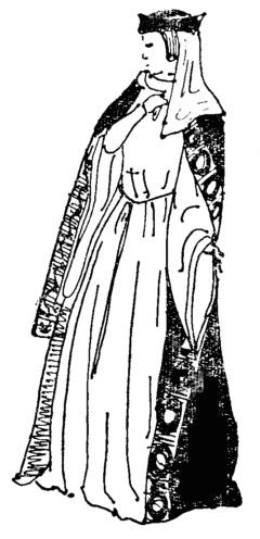 Романский костюм, плащ и головной убор.