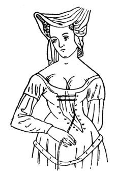 Шнурованное   готическое  классической древности платье с вытачками.