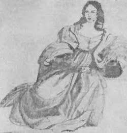 Набросок с картины Тициана, на которой изображен женский костюм эпохи Возрождения.
