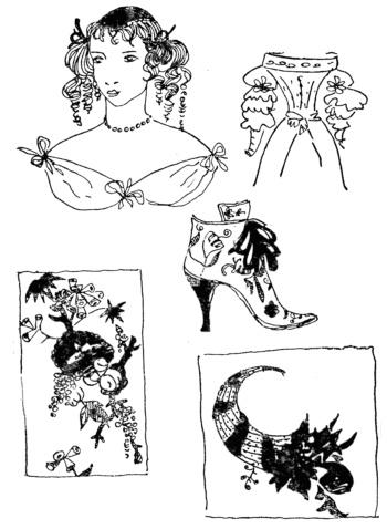 Рог изобилия в декоре и форме костюма, 17 в.