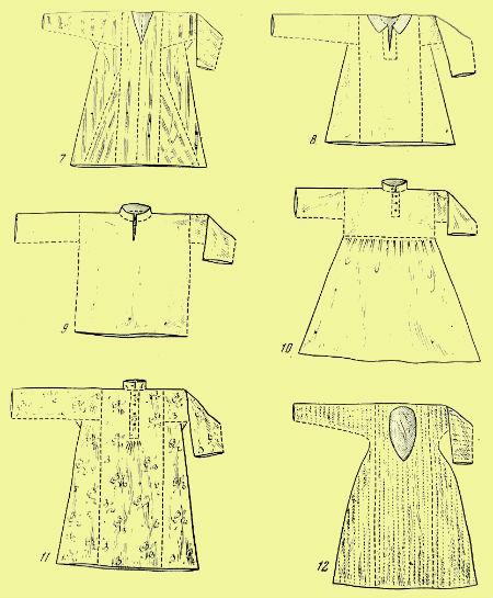 6 - модифицированный покрой без входящих рукавов; 7 - женская рубаха с...